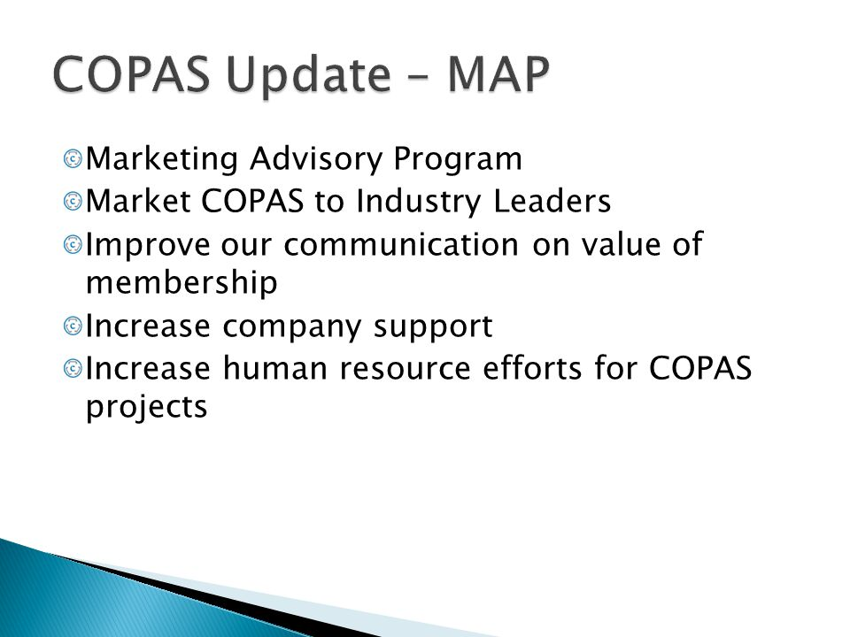 COPAS Update – MAP Marketing Advisory Program