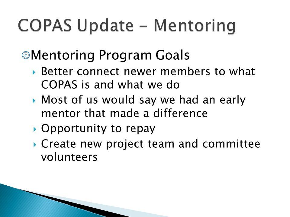 COPAS Update - Mentoring