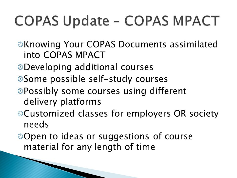 COPAS Update – COPAS MPACT
