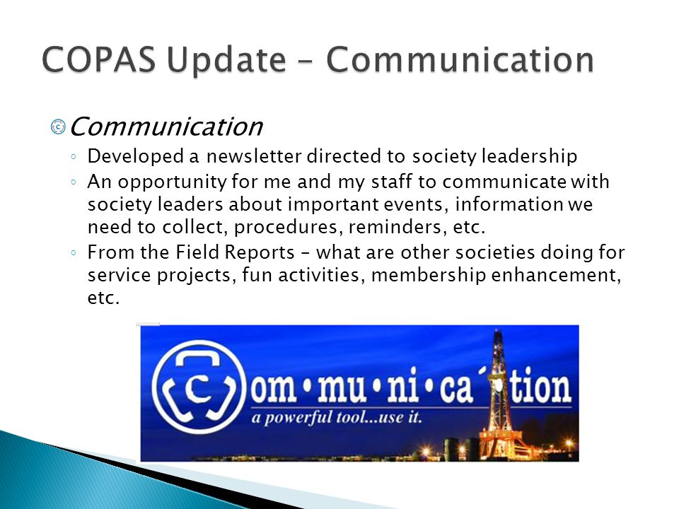 COPAS Update – Communication