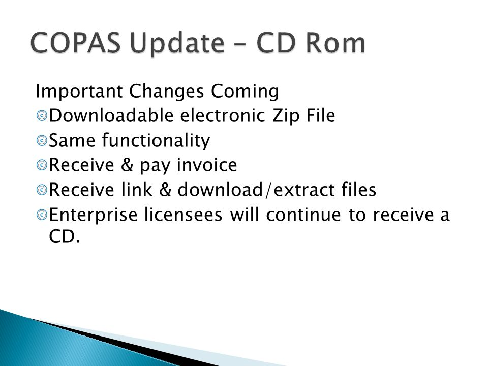 COPAS Update – CD Rom Important Changes Coming