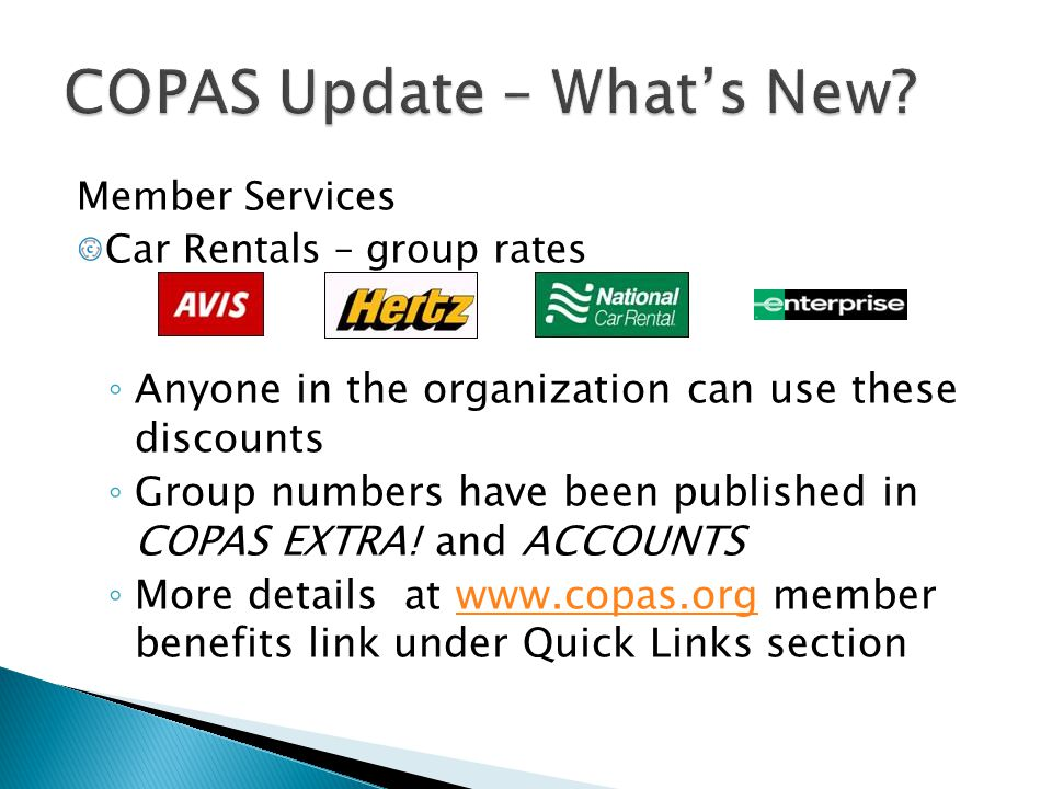 COPAS Update – What's New