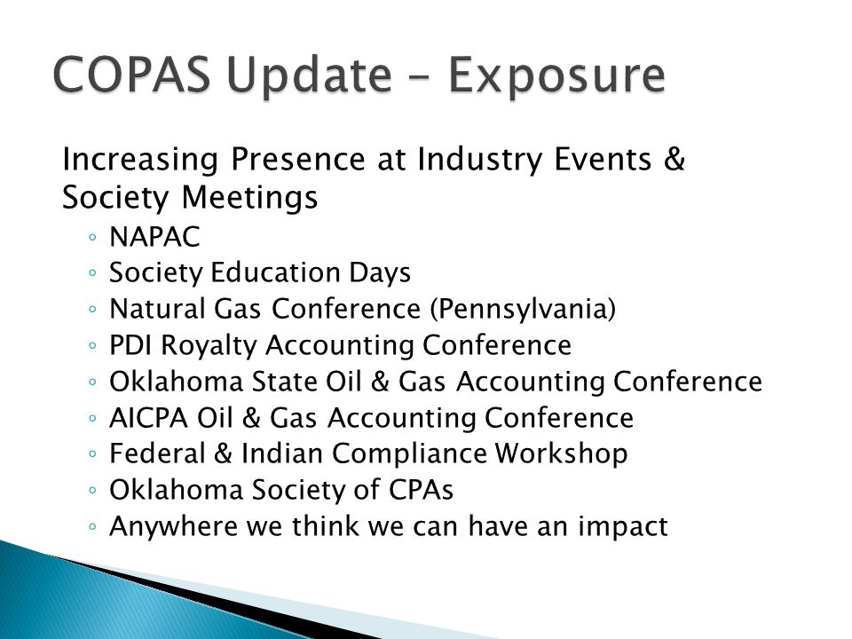 COPAS Update – Exposure