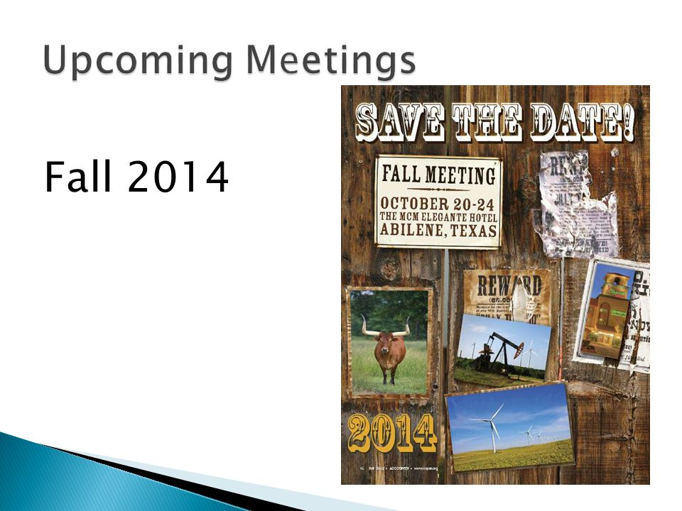 Upcoming Meetings Fall 2014