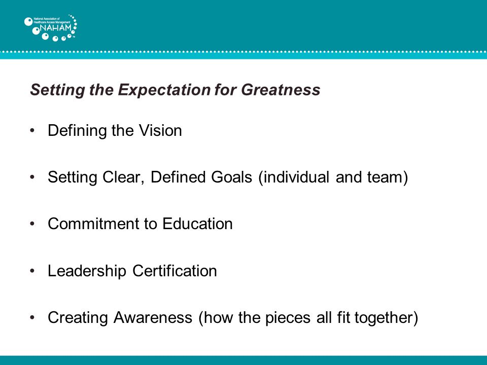 Setting the Expectation for Greatness