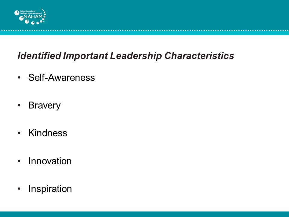 Identified Important Leadership Characteristics