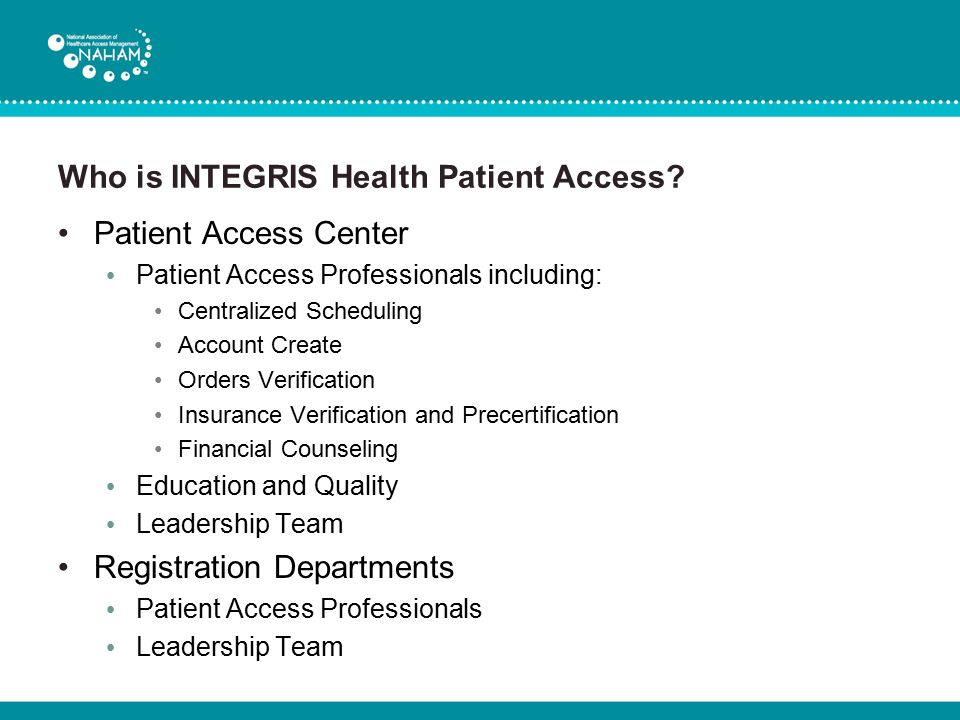 Who is INTEGRIS Health Patient Access
