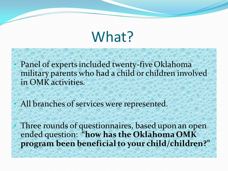 What Panel of experts included twenty-five Oklahoma military parents who had a child or children involved in OMK activities.