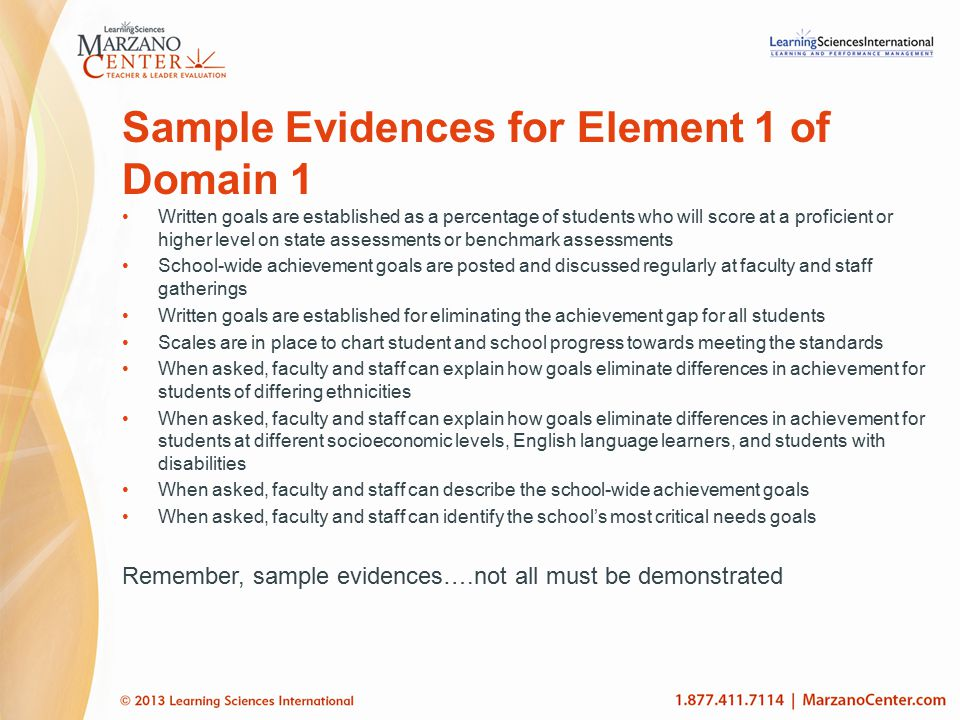Sample Evidences for Element 1 of Domain 1