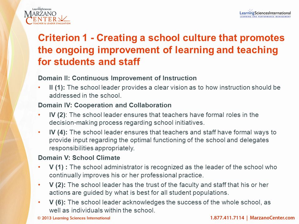 Criterion 1 - Creating a school culture that promotes the ongoing improvement of learning and teaching for students and staff