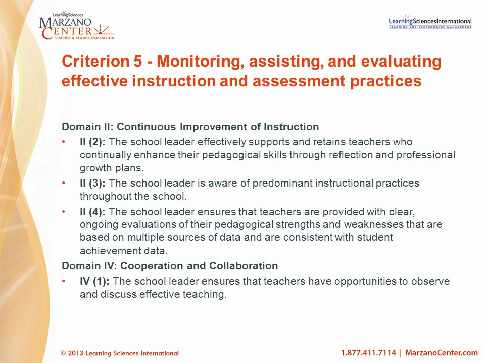 Criterion 5 - Monitoring, assisting, and evaluating effective instruction and assessment practices