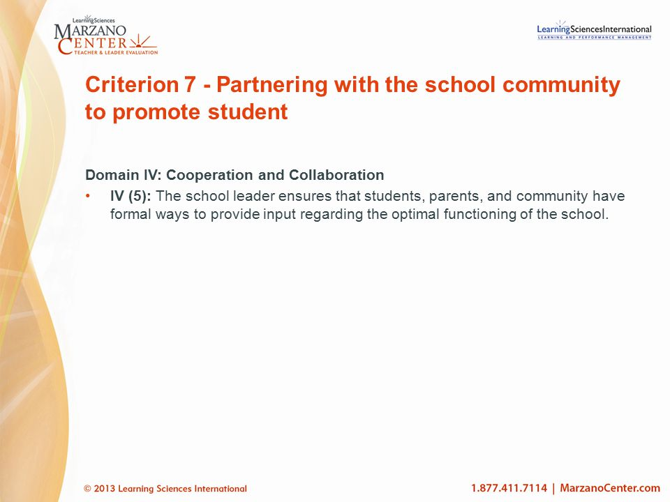 Criterion 7 - Partnering with the school community to promote student