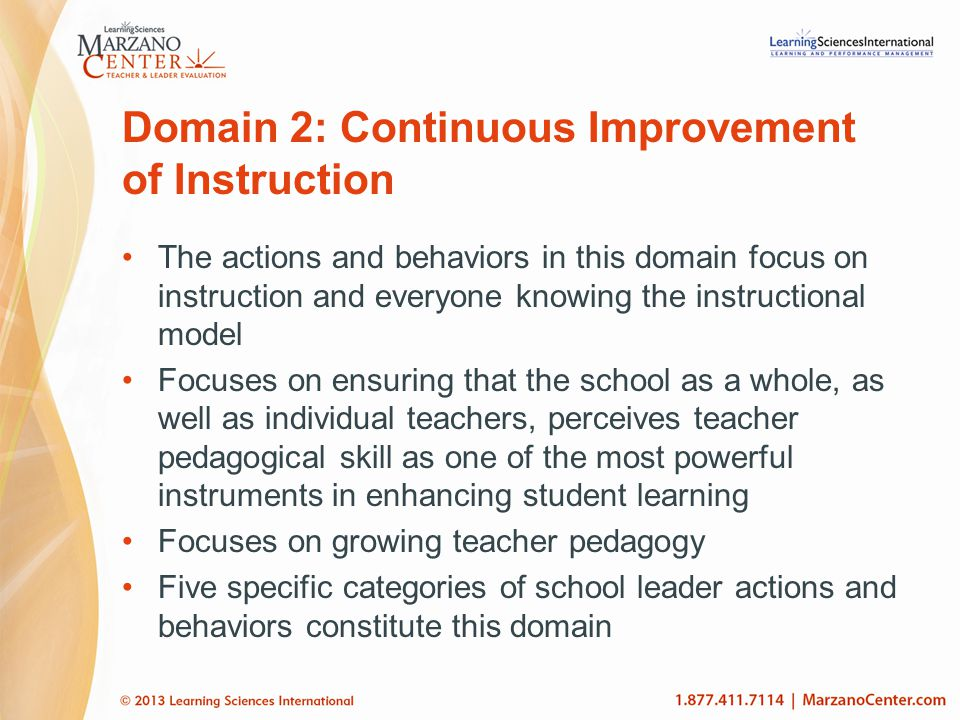 Domain 2: Continuous Improvement of Instruction