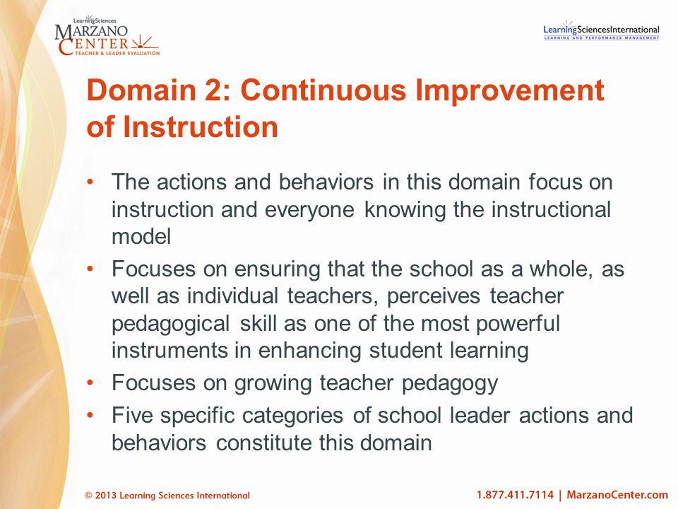 Domain 2: Continuous Improvement of Instruction