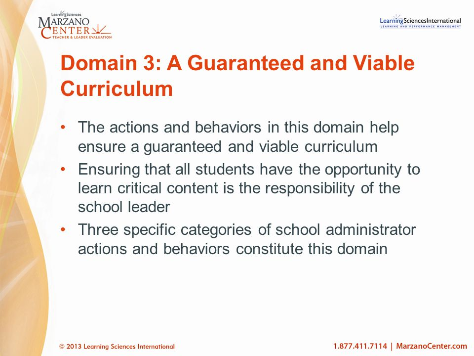 Domain 3: A Guaranteed and Viable Curriculum