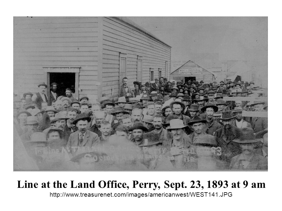 Line at the Land Office, Perry, Sept. 23, 1893 at 9 am http://www