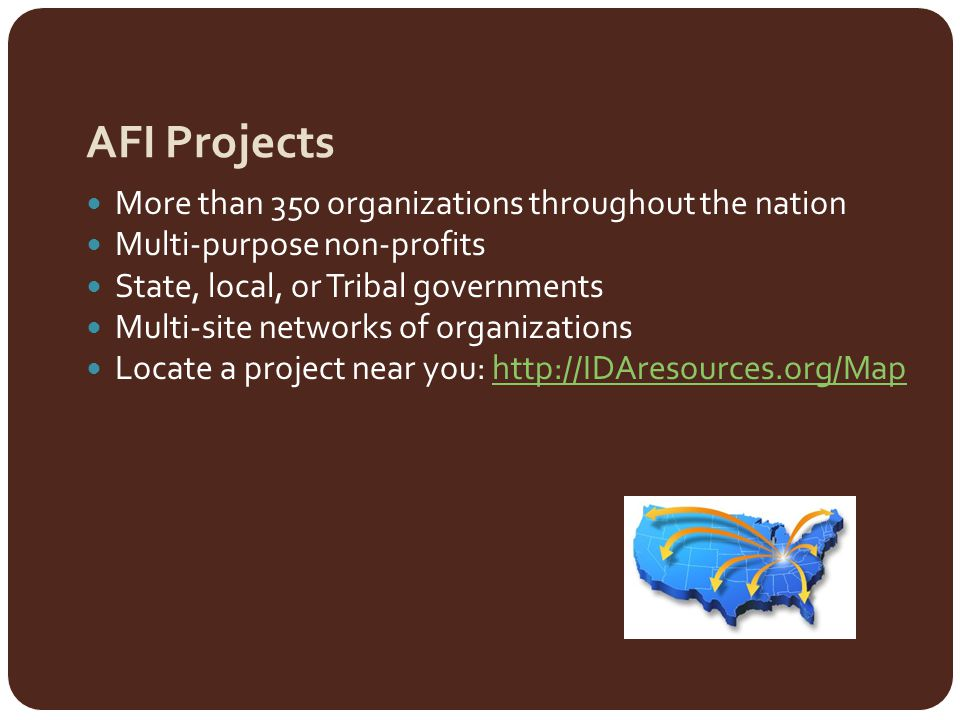 AFI Projects More than 350 organizations throughout the nation