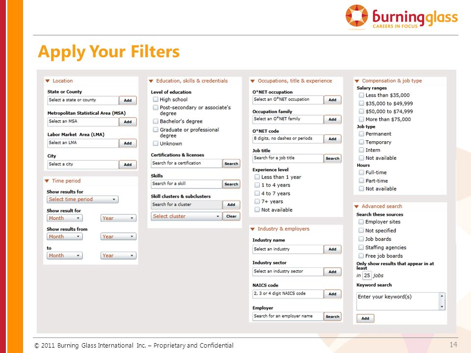 Apply Your Filters © 2011 Burning Glass International Inc. – Proprietary and Confidential