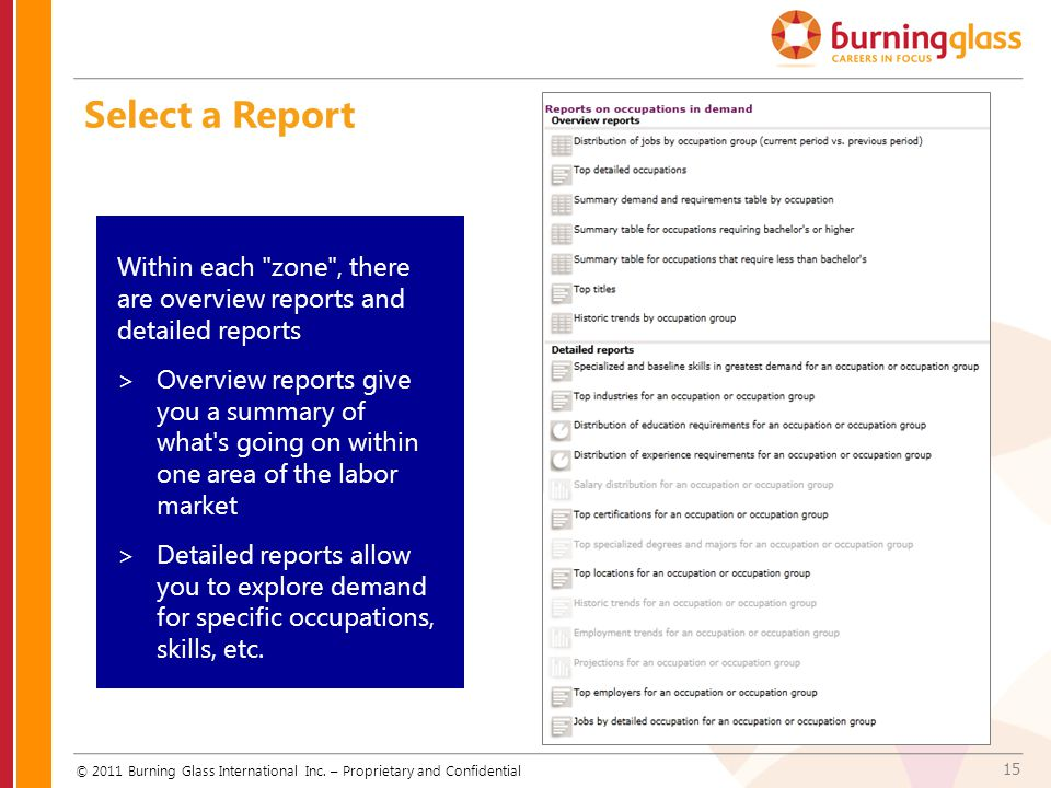 Select a Report Within each zone , there are overview reports and detailed reports.