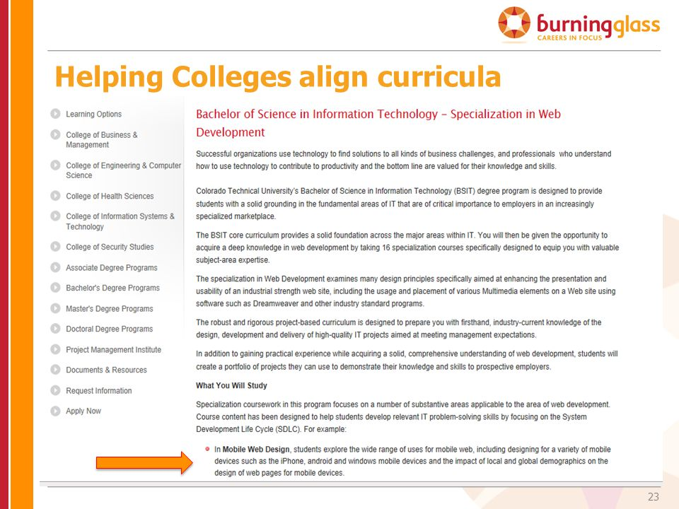Helping Colleges align curricula