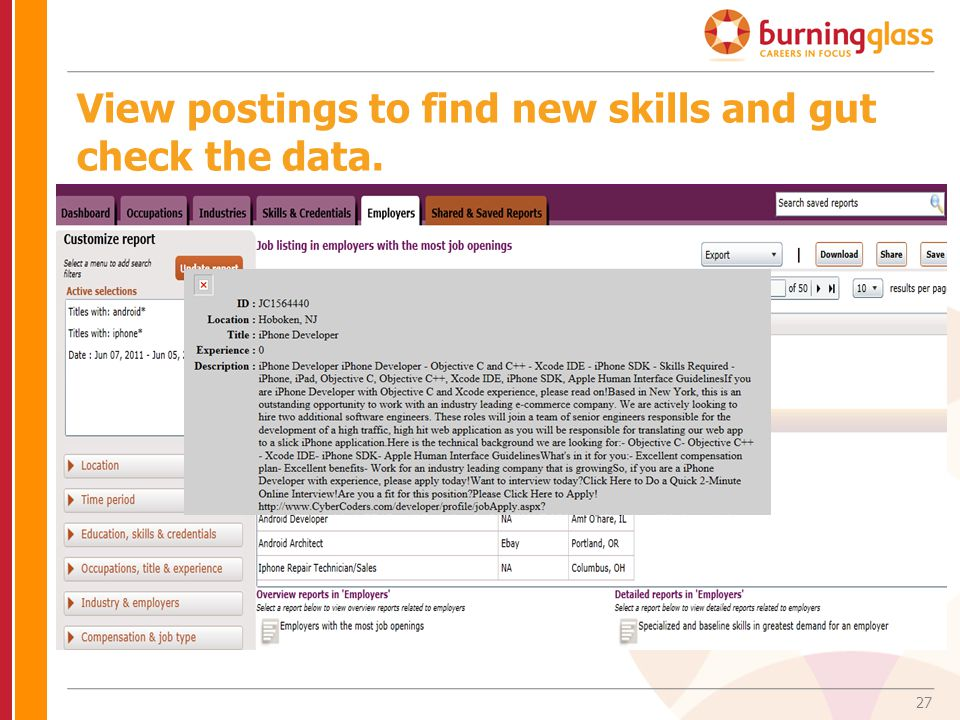 View postings to find new skills and gut check the data.