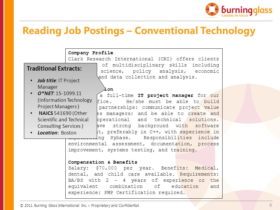Reading Job Postings – Conventional Technology