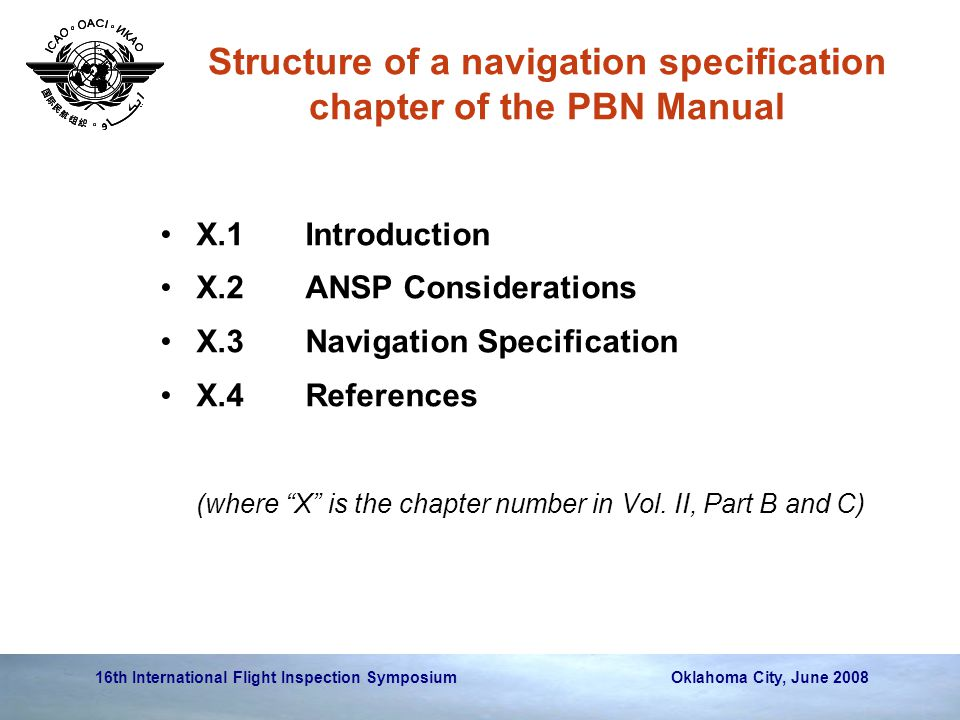 Structure of a navigation specification chapter of the PBN Manual
