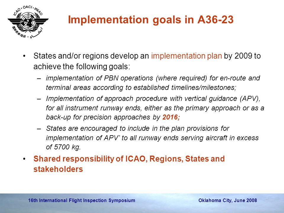 Implementation goals in A36-23