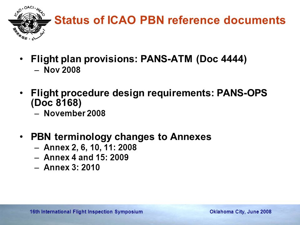 Status of ICAO PBN reference documents