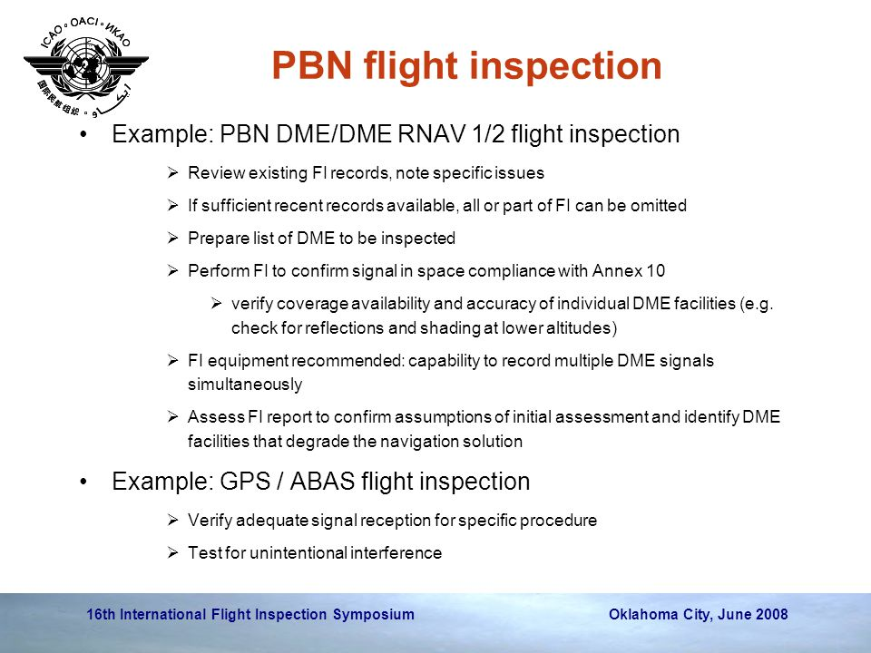 PBN flight inspection Example: PBN DME/DME RNAV 1/2 flight inspection