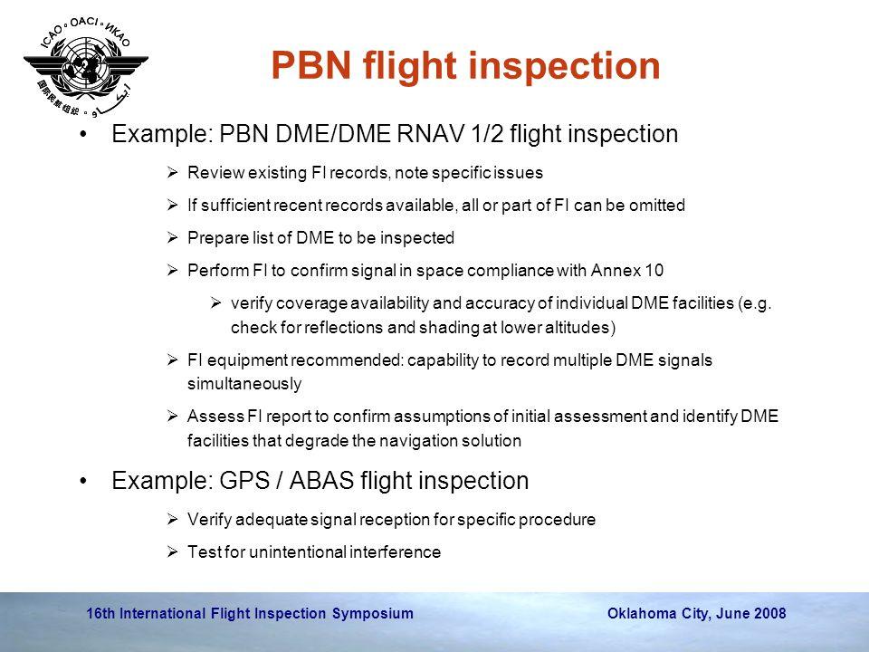 PBN flight inspection Example: PBN DME/DME RNAV 1/2 flight inspection