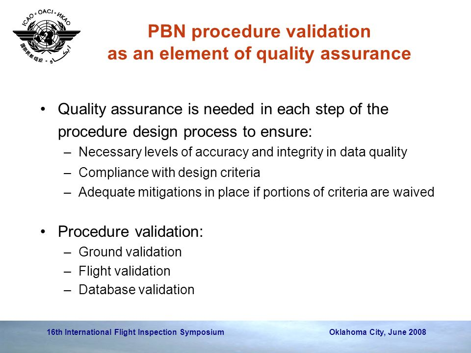 PBN procedure validation as an element of quality assurance