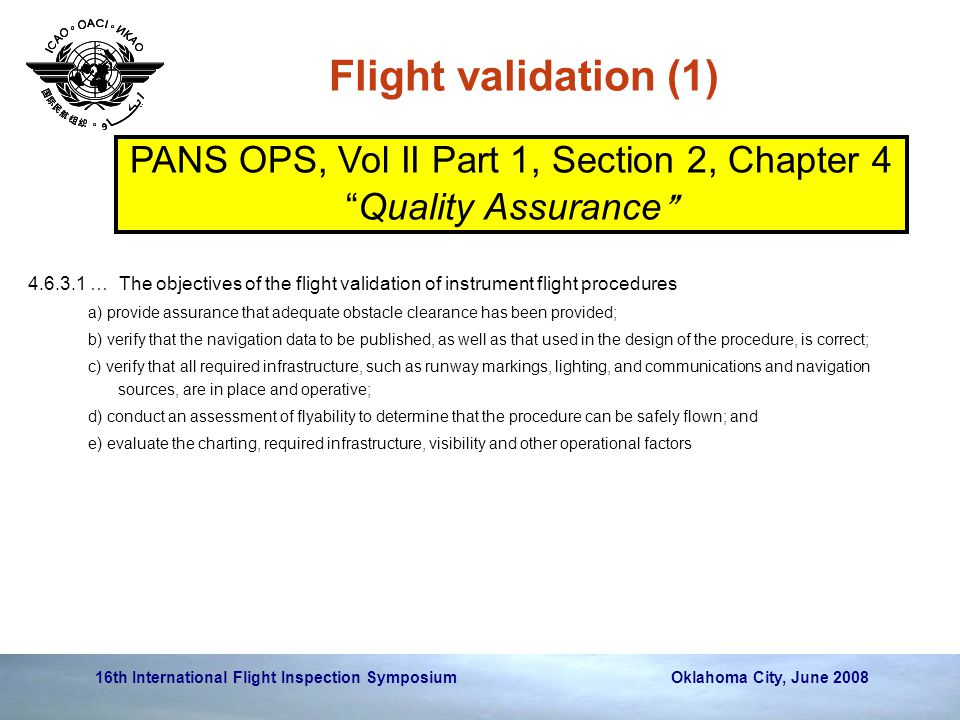 PANS OPS, Vol II Part 1, Section 2, Chapter 4 Quality Assurance