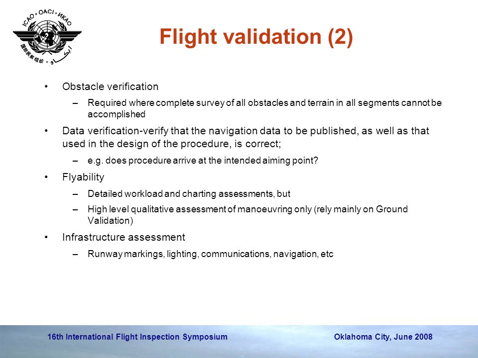 Flight validation (2) Obstacle verification