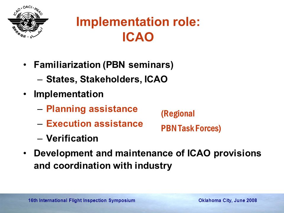 Implementation role: ICAO