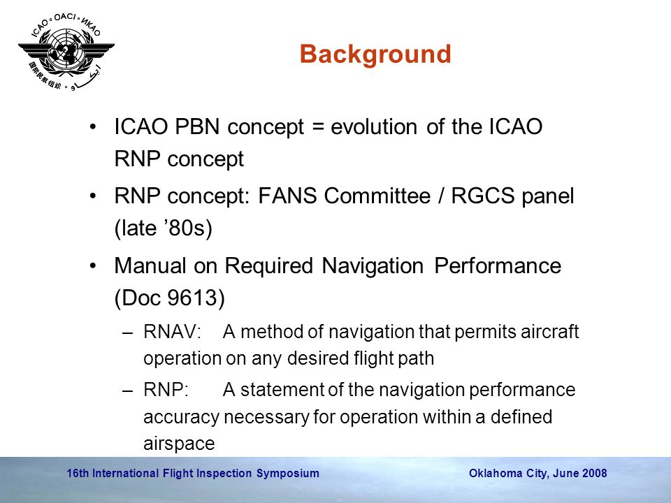 Background ICAO PBN concept = evolution of the ICAO RNP concept