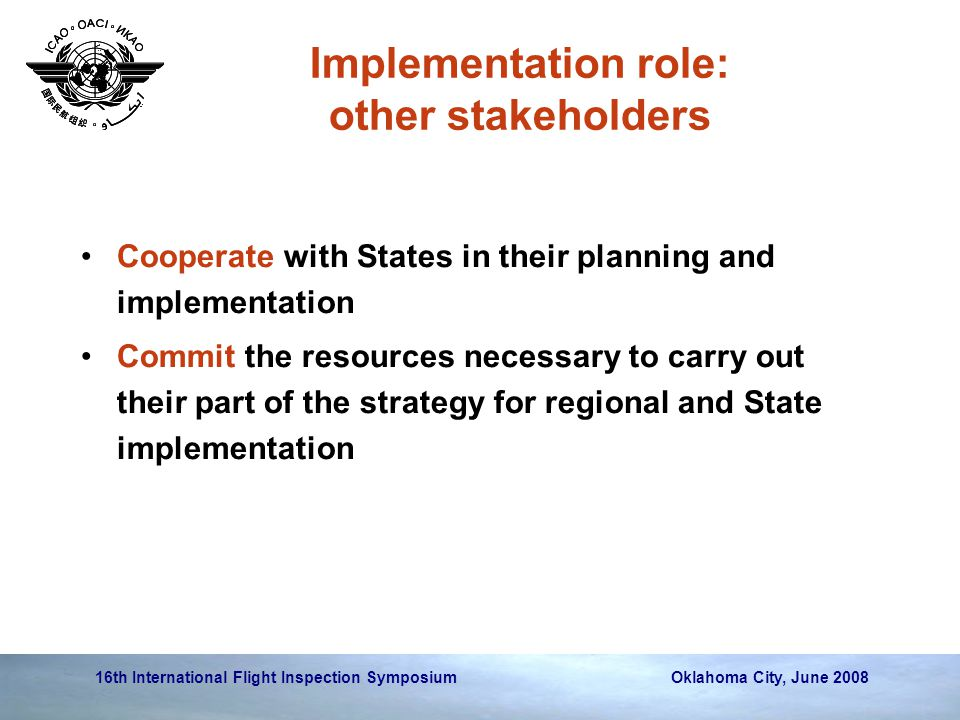 Implementation role: other stakeholders