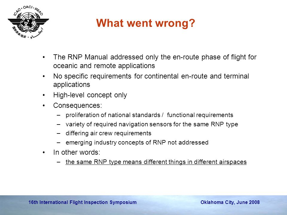 What went wrong The RNP Manual addressed only the en-route phase of flight for oceanic and remote applications.