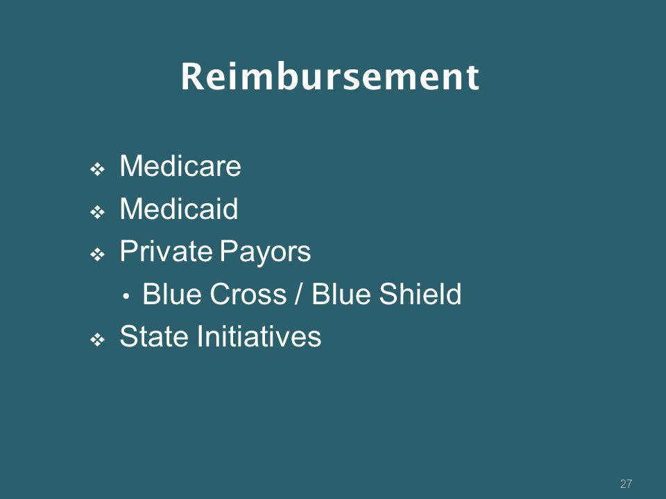 Reimbursement Medicare Medicaid Private Payors