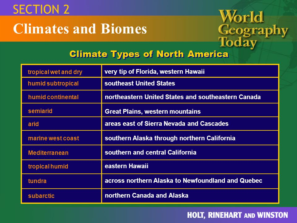 Climates and Biomes SECTION 2 Climate Types of North America