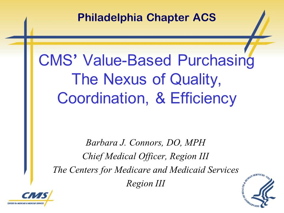 Philadelphia Chapter ACS CMS' Value-Based Purchasing The Nexus of Quality, Coordination, & Efficiency