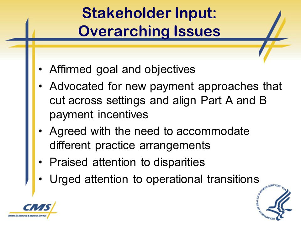 Stakeholder Input: Overarching Issues