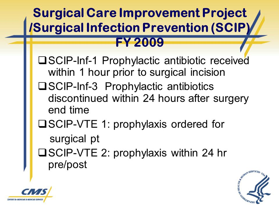 Surgical Care Improvement Project /Surgical Infection Prevention (SCIP) FY 2009