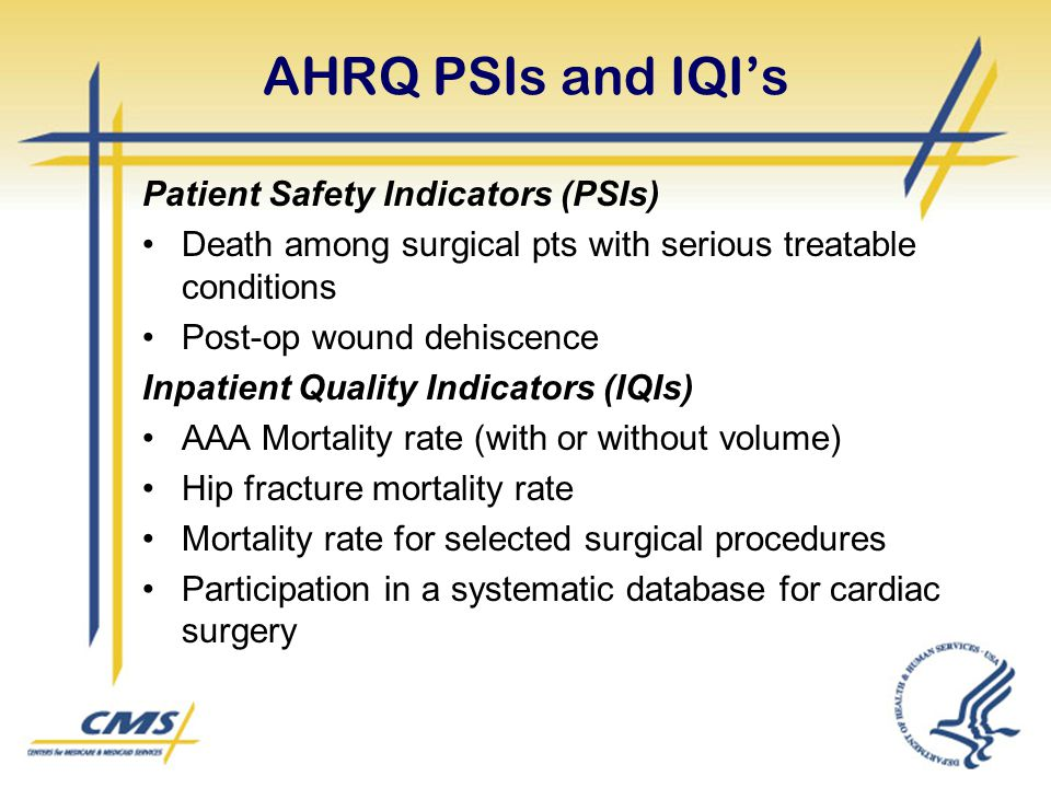 AHRQ PSIs and IQI's Patient Safety Indicators (PSIs)