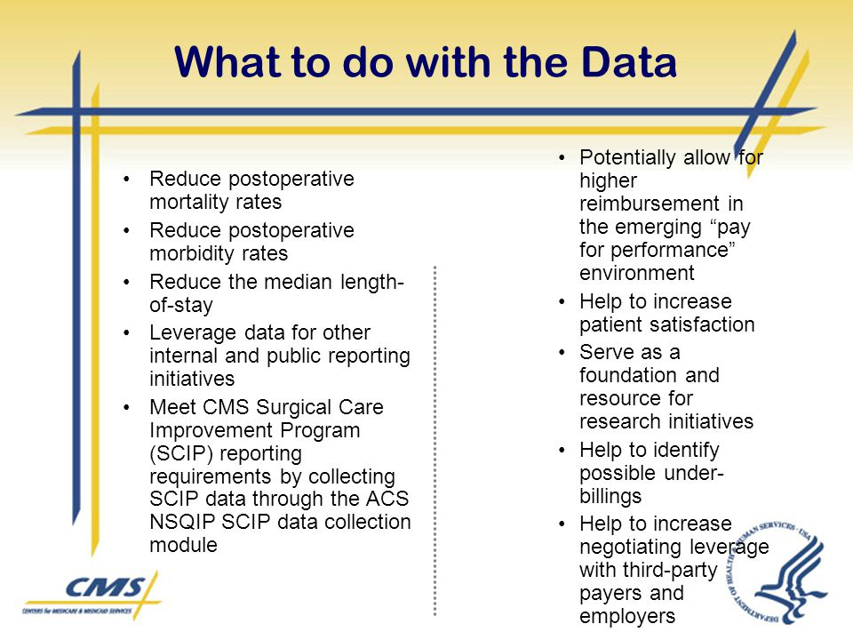 What to do with the Data Potentially allow for higher reimbursement in the emerging pay for performance environment.