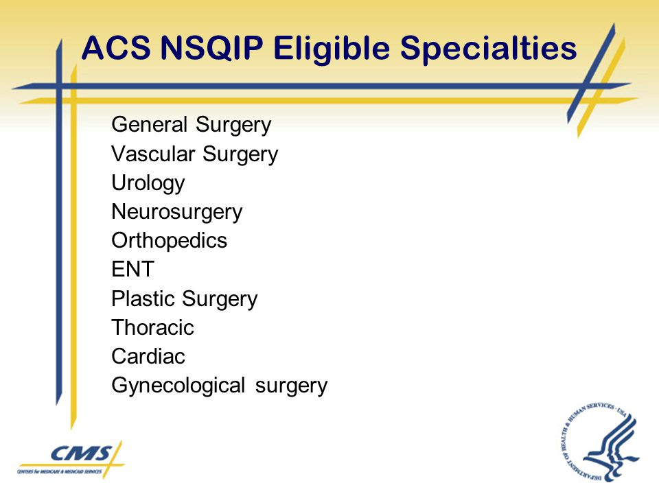 ACS NSQIP Eligible Specialties