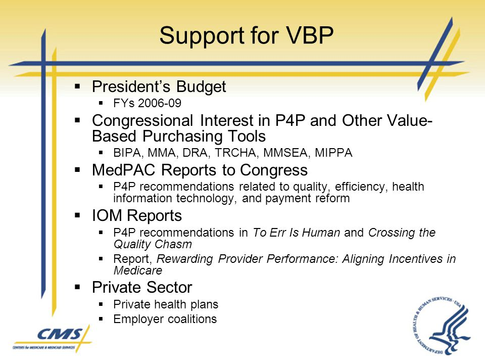Support for VBP President's Budget