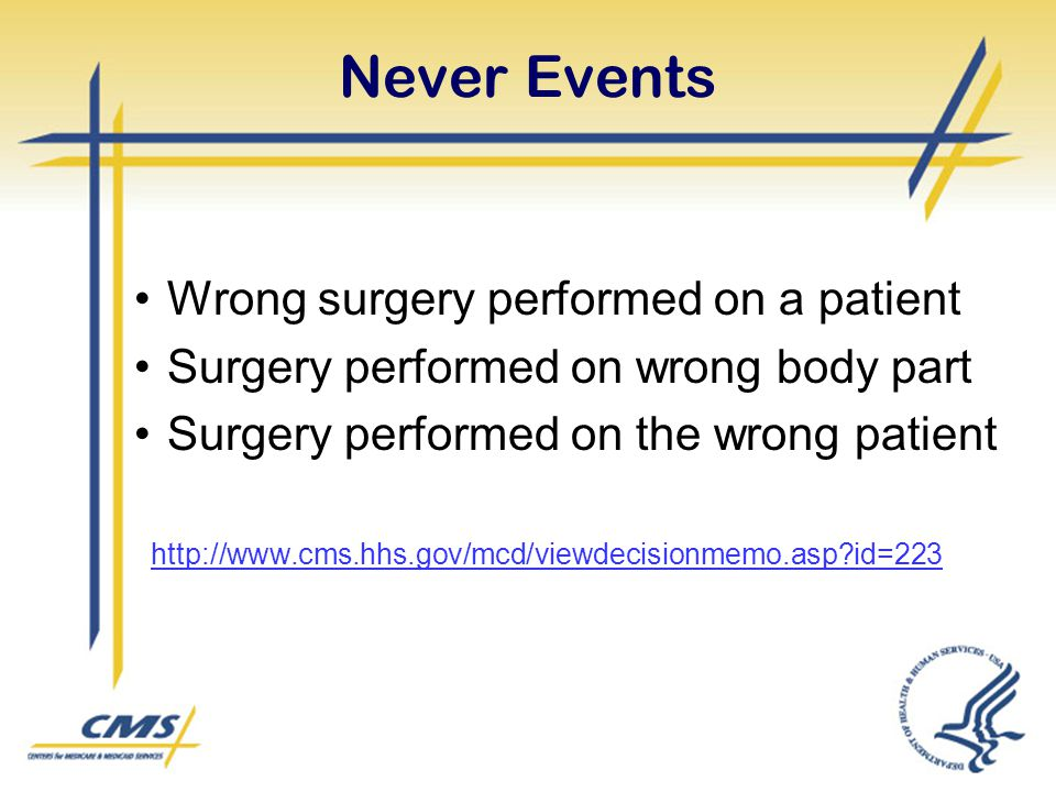 Never Events Wrong surgery performed on a patient