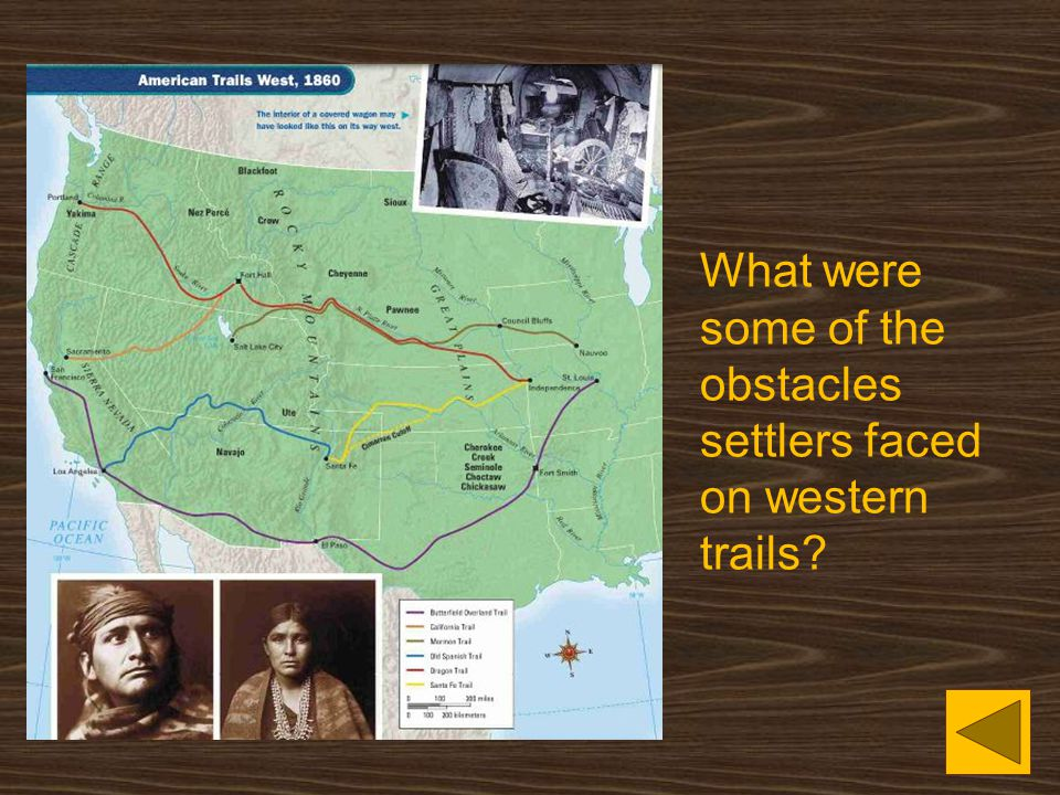 What were some of the obstacles settlers faced on western trails