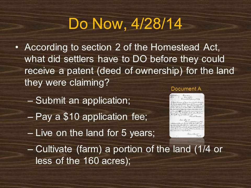 An analysis of the homestead act